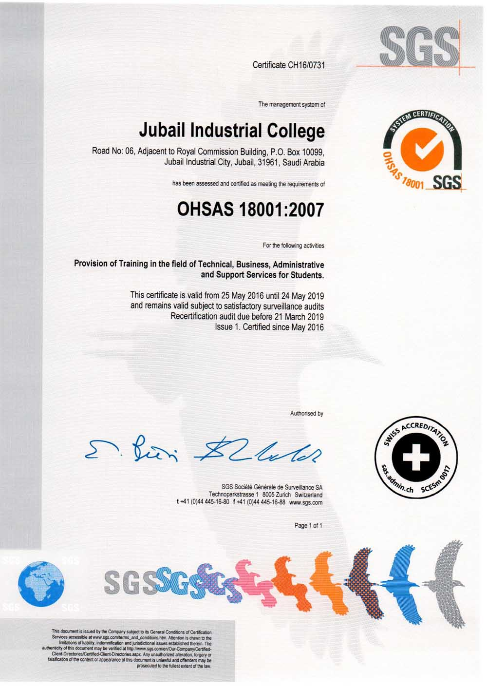 JUBAIL INDUSTRIAL COLLEGE RECEIVES OHSAS 18001 CERTIFICATION